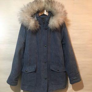 Forecaster Boston Blue Suede Fox Fur Coat Macy's